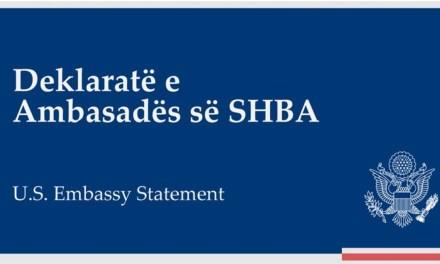 U.S. Embassy TR/Mirëpresim vendimin e qeverisë për të mos ndërmarrë veprime të mëtejshme