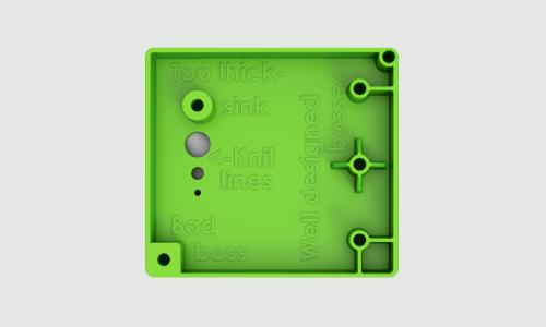Design Cube features several plastic boss designs