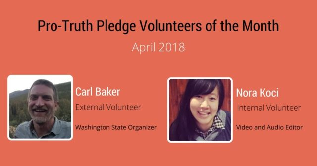 PTP Volunteers of the Month - April 2018