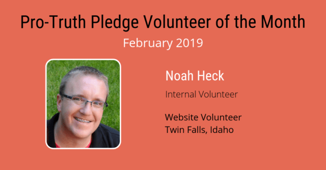 Noah Heck - Volunteer of the Month February 2019
