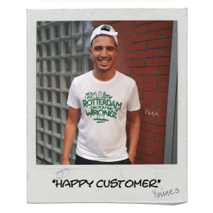"Happy customer Younes met Rotterdam T-shirt ""Like Rotterdam """