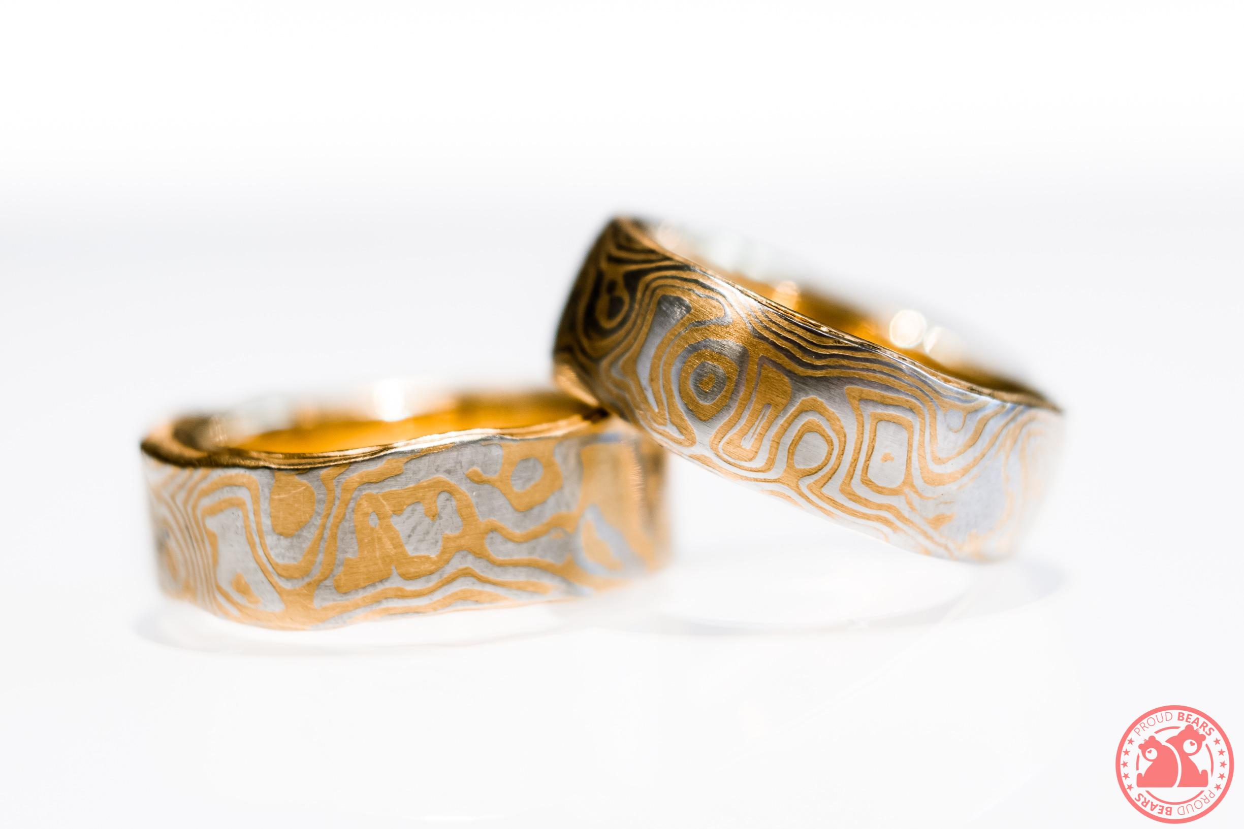 Partner Ring Wedding Band Damascus Gold 999 Fine