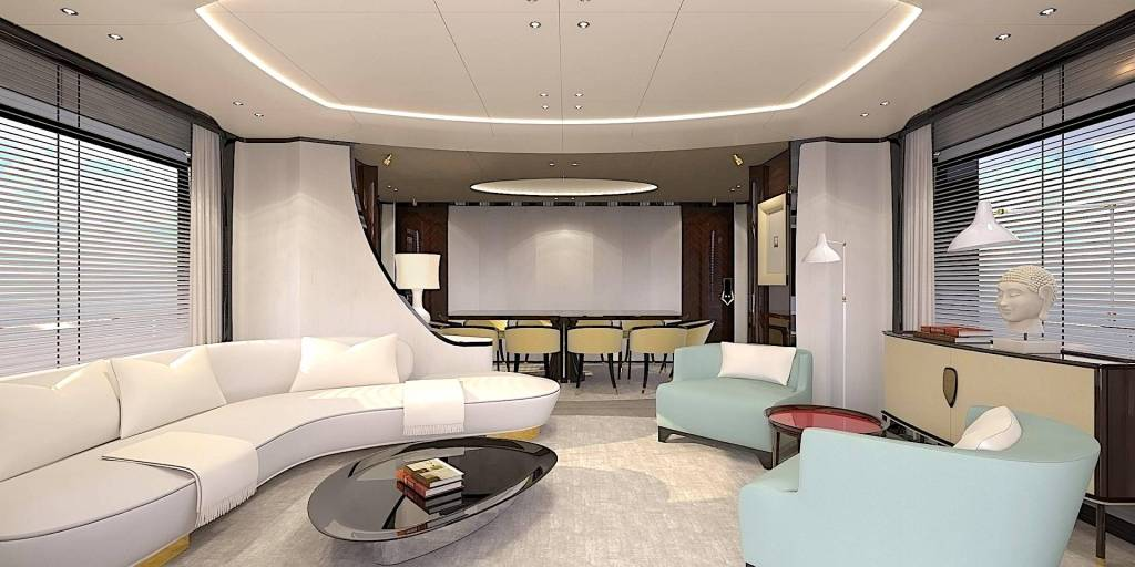 This is the beautiful salon of the Benetti Delfino 95' yacht.
