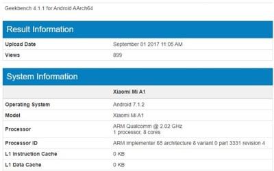 Suposto Mi A1, um Xiaomi com Android Puro, é flagrado em teste de benchmark