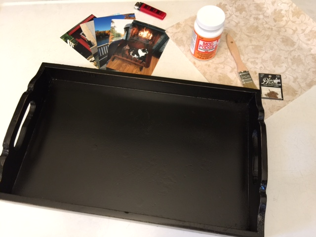Supplies for a DIY serving tray gift using photos and resin