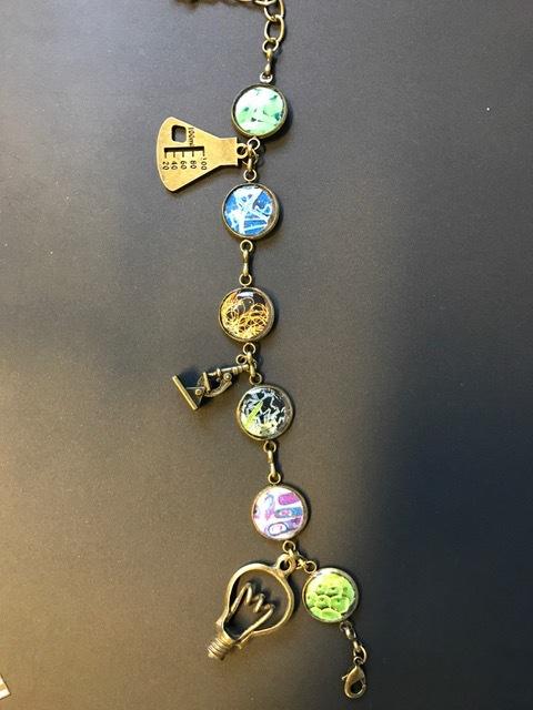 personalized charm bracelet DIY gift using bezel bracelet, resin and charms