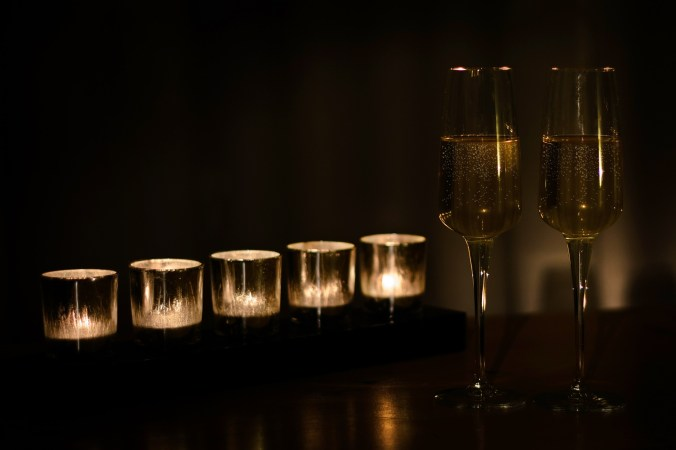 Hygge champagne and candles