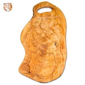 Planche à découper en bois d'olivier avec rigole et poignée 50cm