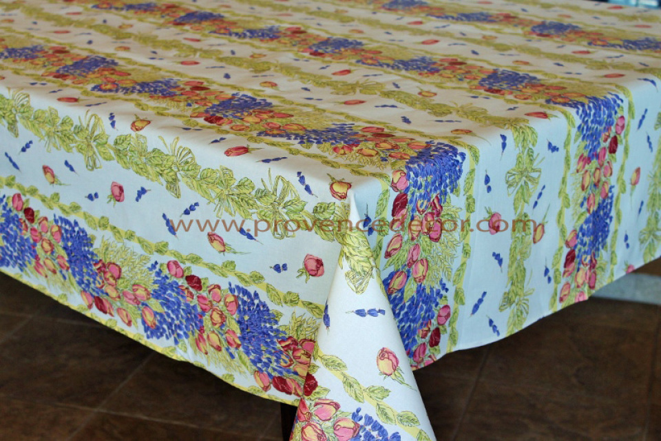 French Provence ROSES LAVENDER Acrylic Coated Tablecloth French Oilcloth Indoor Outdoor