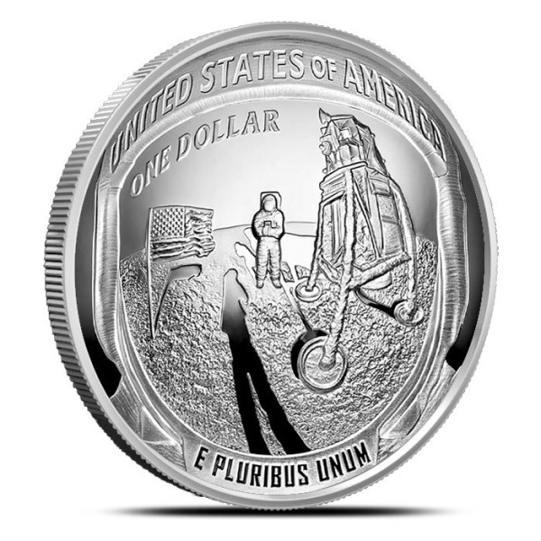 2019 5 oz Proof Silver Dollar Apollo 11 50th Anniversary ...