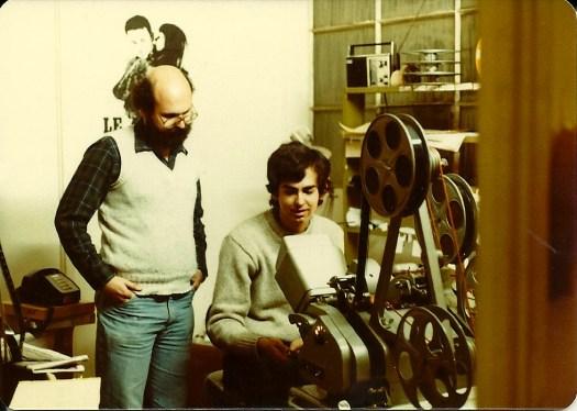 Mark Goldblatt editing with a Moviola