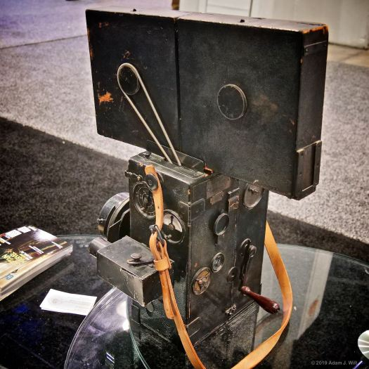 This Pathé Brothers camera at the ASC booth is about 100 years old