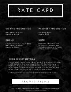 Rate Card - How Much Do Video Production Companies Charge