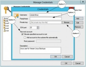 Veeam: Create Linux user for Private Key Login Credentials