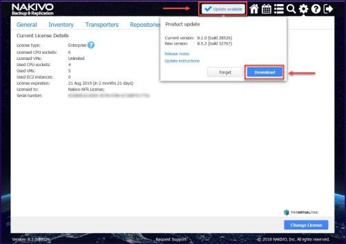 NAKIVO Backup & Replication v8.5.2 with VMware vSphere 6.7 Update 2 Support