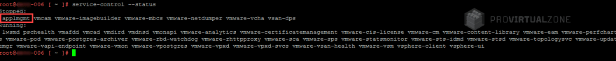After updating vCSA to 6.7 U3h applmgmt service did not start.