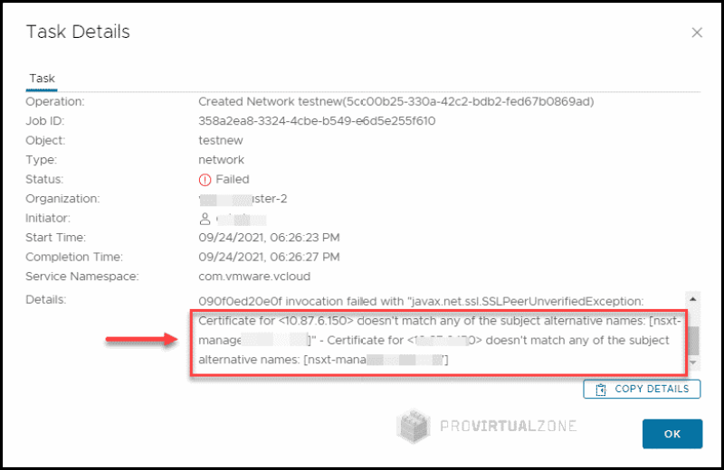 vCloud Director v10.3 vs NSX-T error Certificate is already trusted