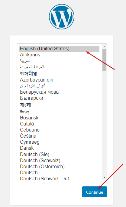 Post Configuration of WordPress select language