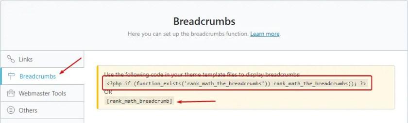 Breadcrumbs rank math seo