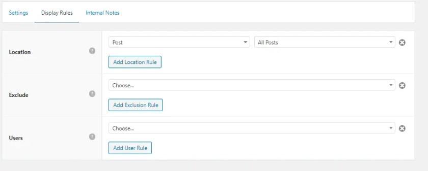 GeneratePress Custom Hook Display rules