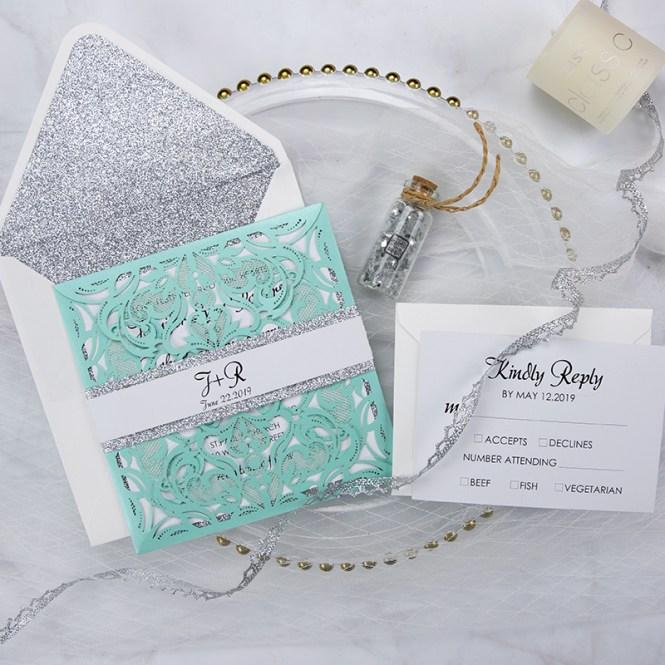 Tiffany Blue Swirl Laser Cut Wedding Invitation Kits Turquoise
