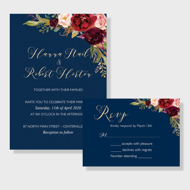 Affordable Navy Blue Wedding Invite