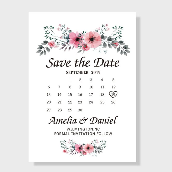 Peach Flower Save The Date