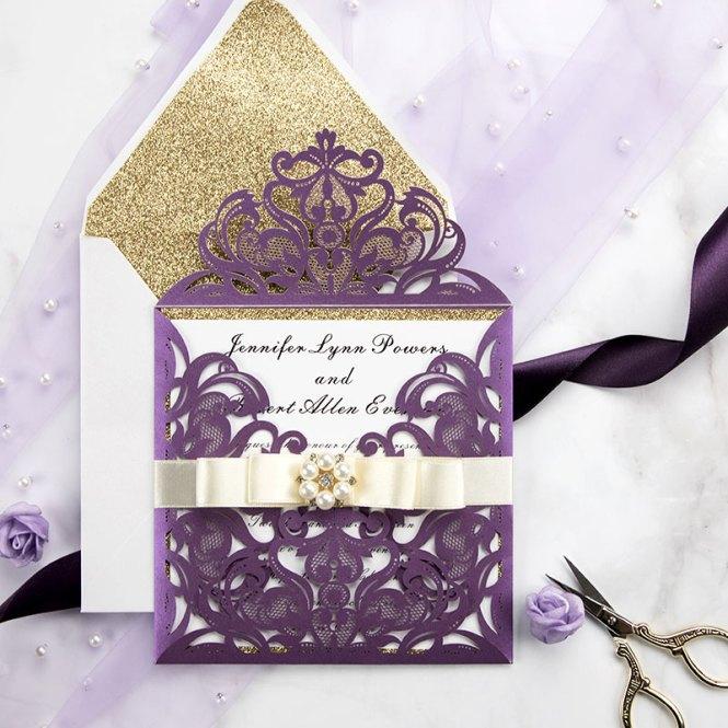 Eggplant Purple Laser Cut Wedding