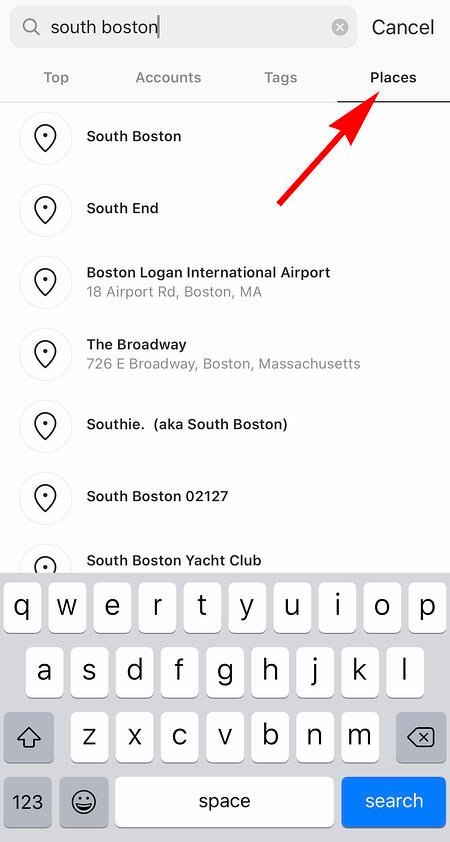 searching location on instagram search feature