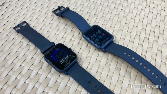 A picture of the Amazfit Bip U next to the Amazfit Bip S.