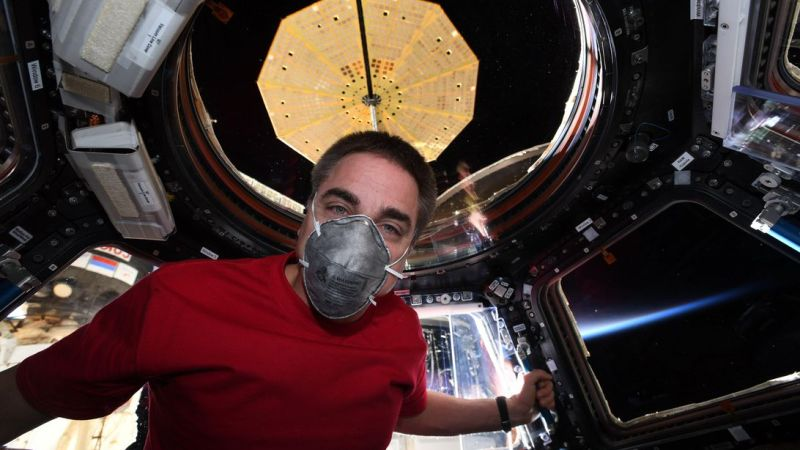NASA astronaut wears face mask on ISS to prepare for life back on Earth