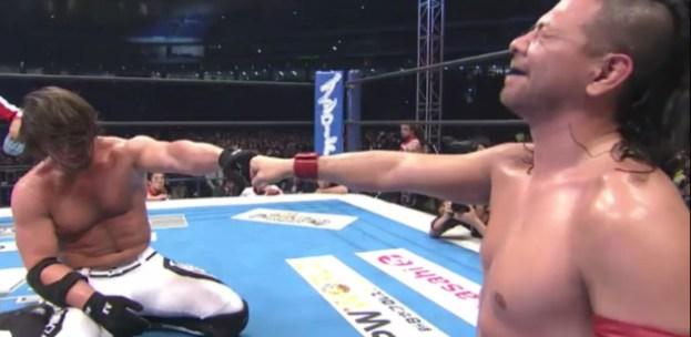 AJ Styles and Shinsuke Nakamura at Wrestle Kingdom 10.