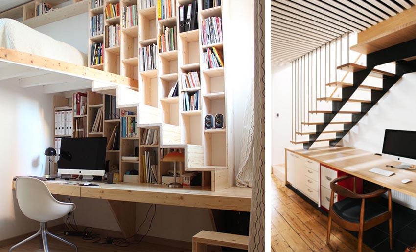 áreas de almacenaje en un estudio en casa
