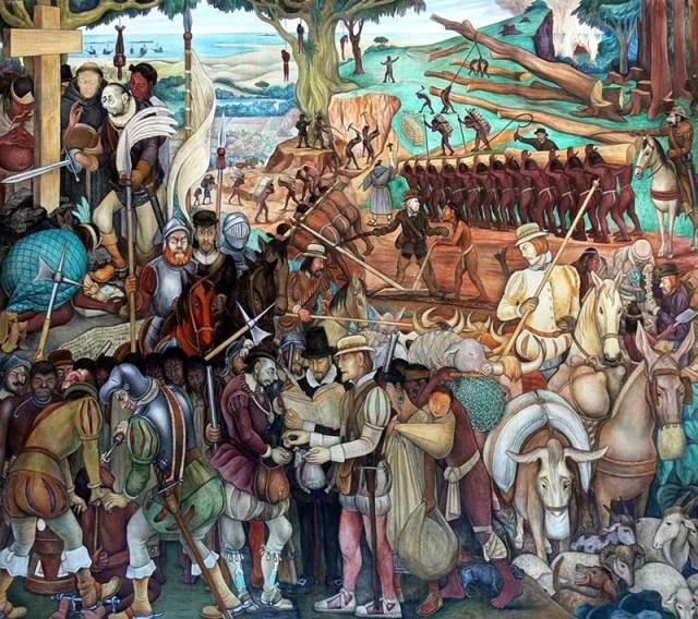 """""""La conquista española de la nación azteca"""" 1936. Diego Rivera"""