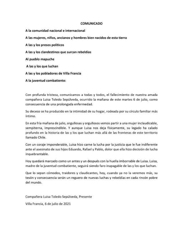 Cra Luisa Toledo Presente- Comunicado Público
