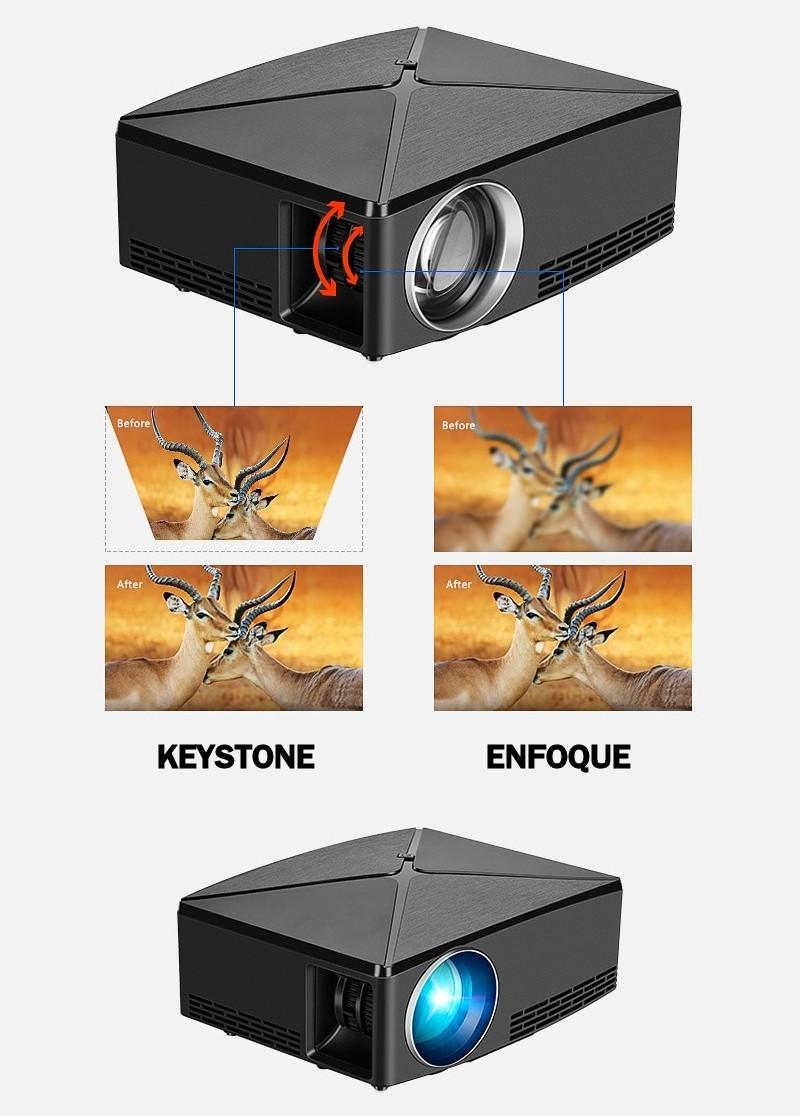 el proyector incluye en su parte lateral dos anillos de ajuste, uno para el ajuste de enfoque y otro para la corrección keystone