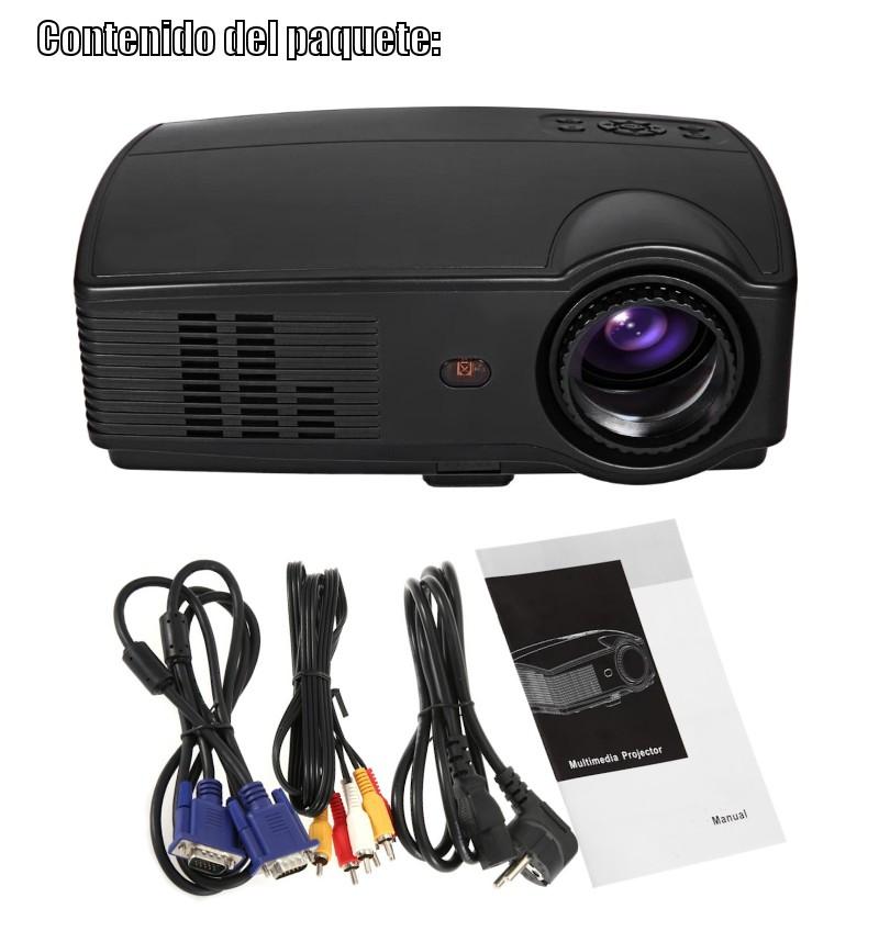 El contenido del paquete incluye: proyector seelumen pjw100, cable de video, cable vga, cable de corriente, mando a distancia y manual de usuario