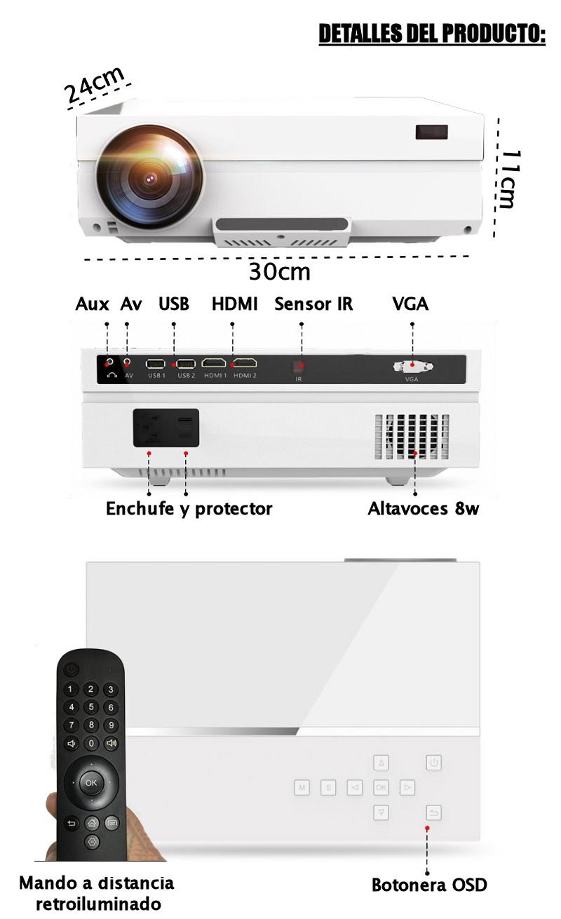 Detalles del producto: dimensiones 24cm x 30cm x 11cm, conexiones: HDMI1, HDMI2, USB1, USB2, VGA, AV, mando a distancia incluido