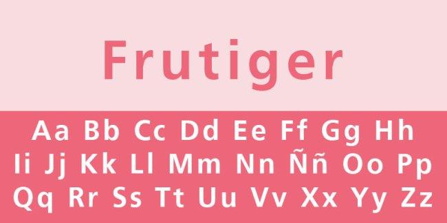fuente cligrafica frutiger