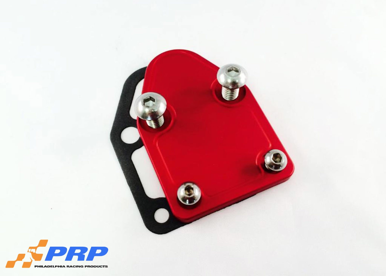 Red SBC Fuel Pump Block-off Plate made by PRP Racing Products