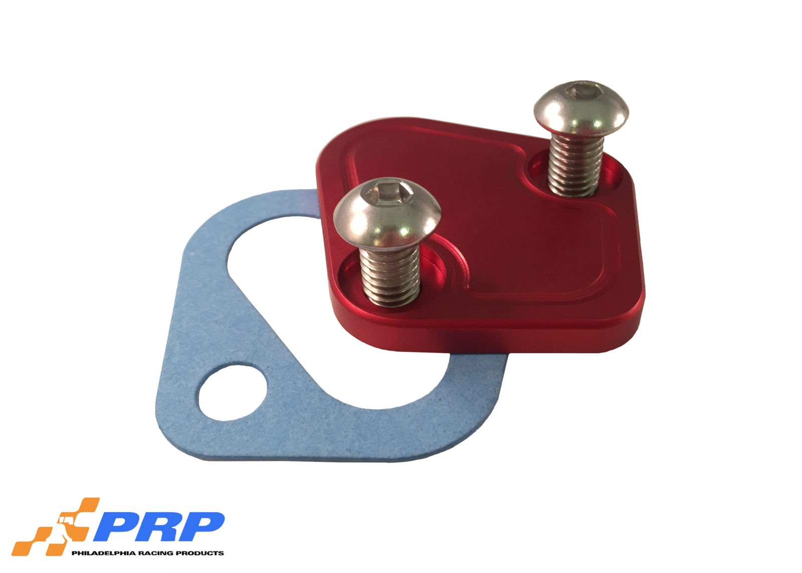 Red BBC Fuel Pump Block-off Plate made by PRP Racing Products