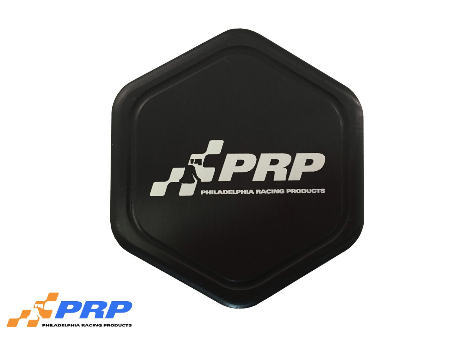 Black anodized radiator cap made by PRP Racing Products Front
