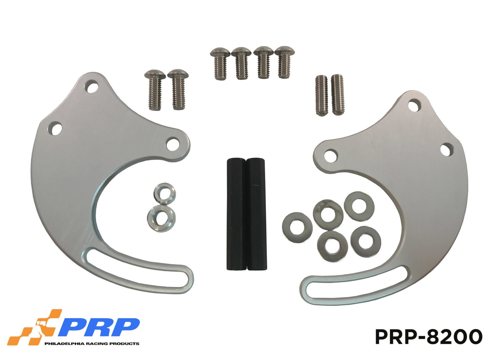 Silver and Black Power Steering Pump Mounting Bracket Kits