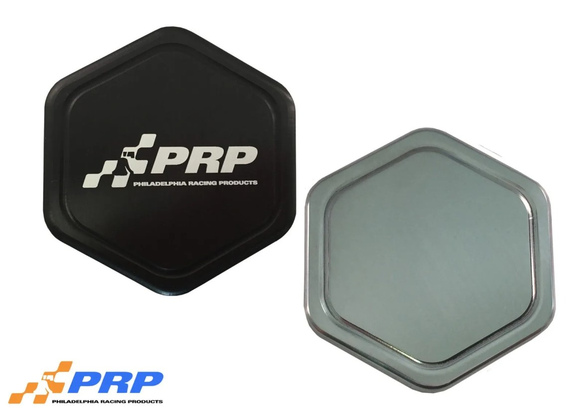 Black and polished radiator cap made by PRP Racing Products