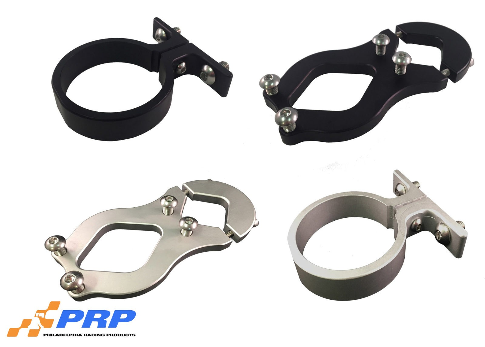Clear and Black Remote Water Pump Mounting Brackets made by PRP Racing Products