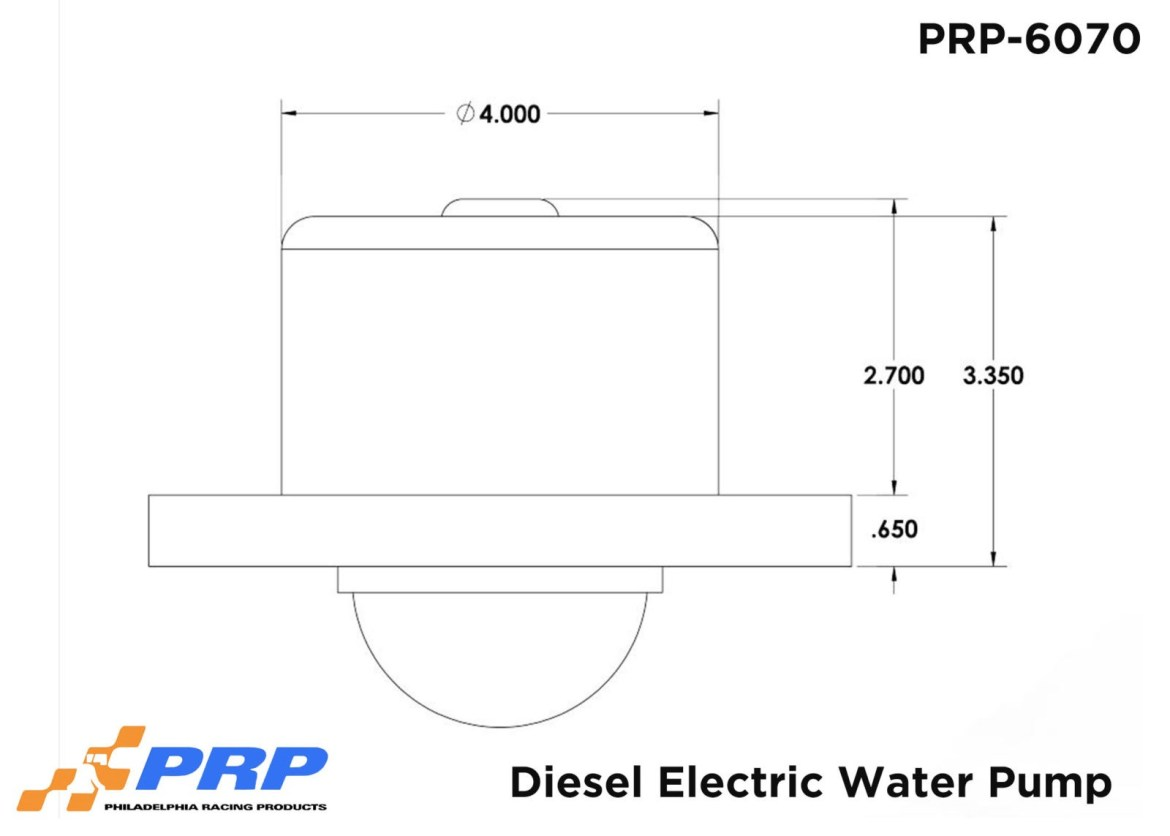 Diesel Electric Water Pump sizing Graphic Made by PRP Racing Products