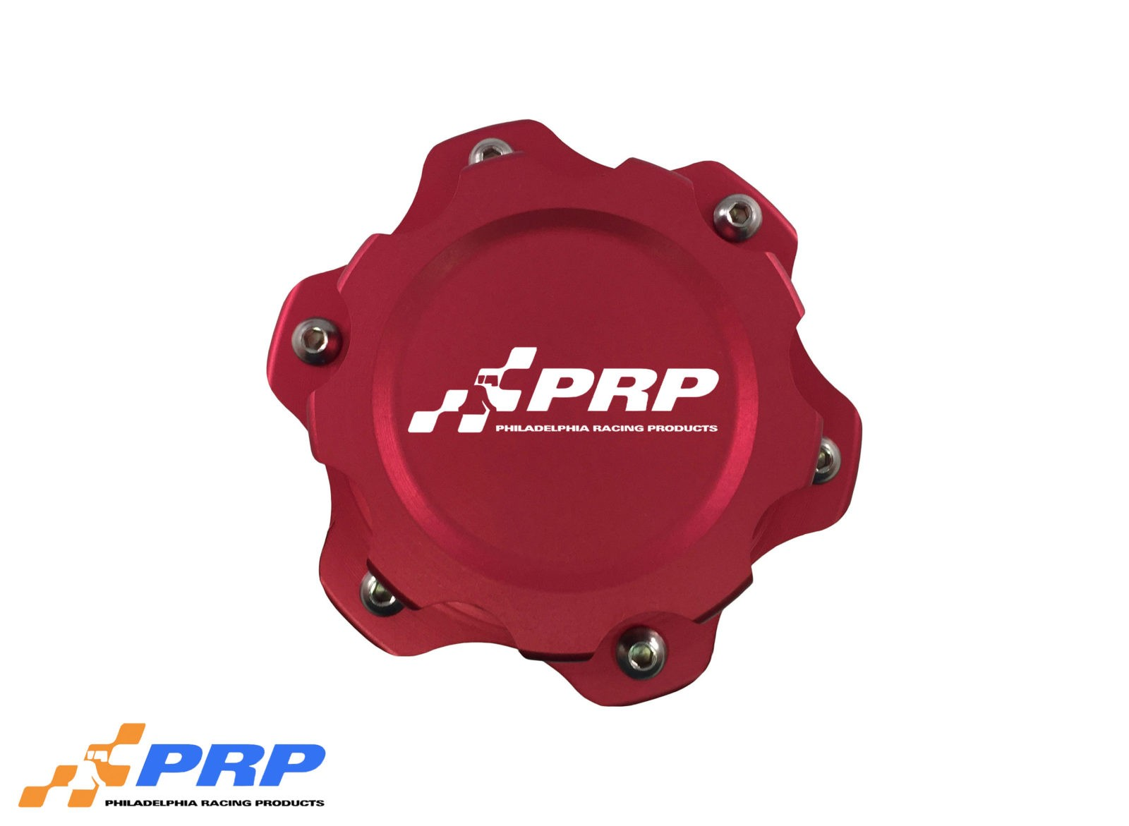 Red anodized 6 Bolt Fuel Cell Cap made by PRP Racing Products