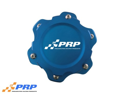 Blue anodized 6 Bolt Fuel Cell Cap made by PRP Racing Products