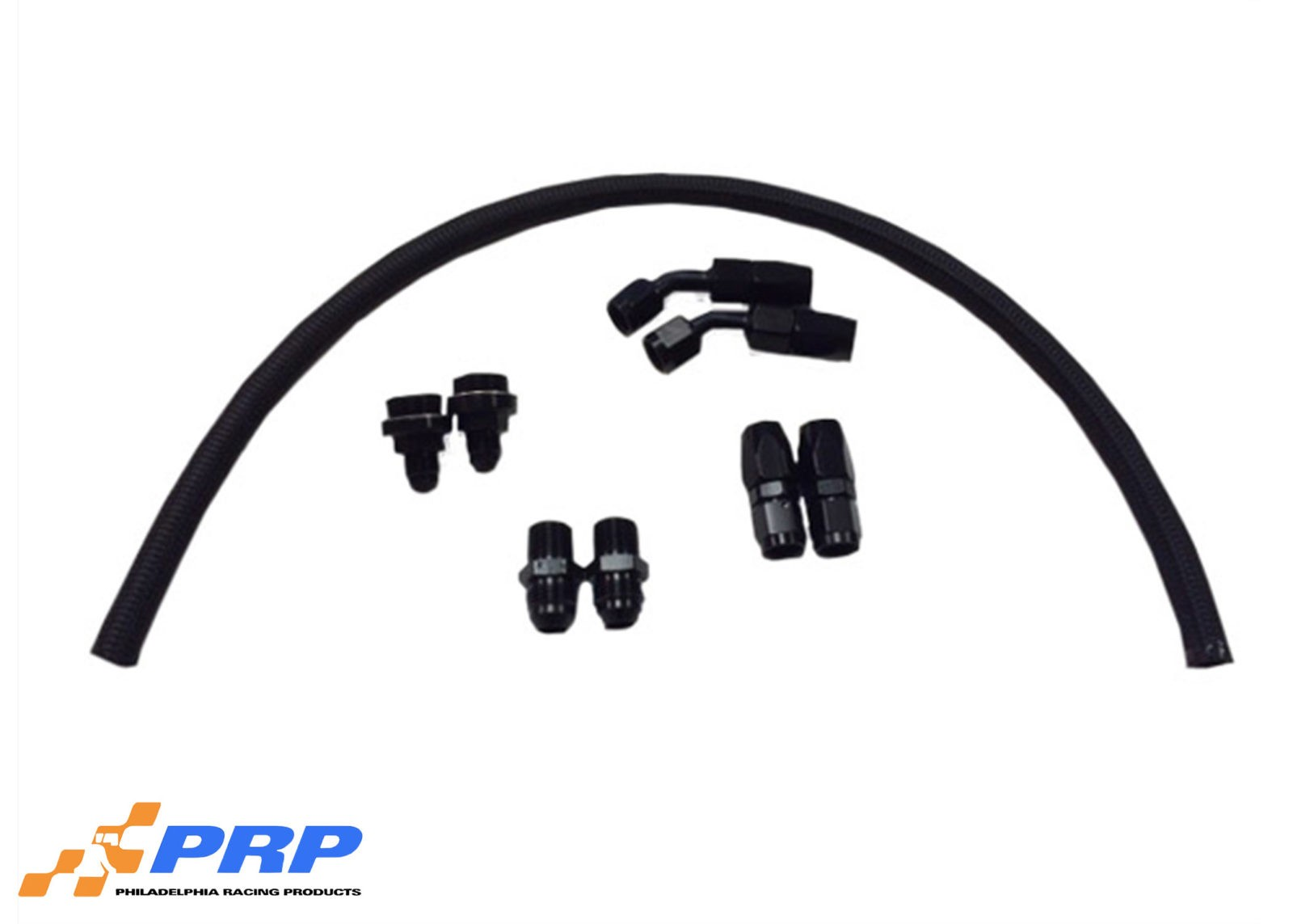 Black Regulator Plumbing Kits displayed made by PRP Racing Products