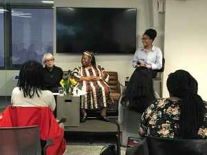 """PRRAC's """"Reproductive Justice and the Politics of Resistance: An Evening with Loretta Ross and Rickie Solinger"""" event: NCSD Outreach Coordinator Tyler Barbarin moderating event."""